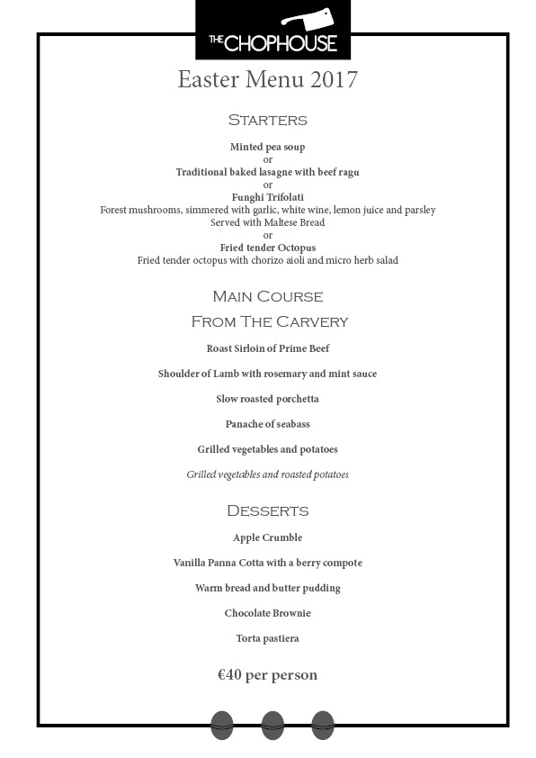 Chophouse Easter menu 2017